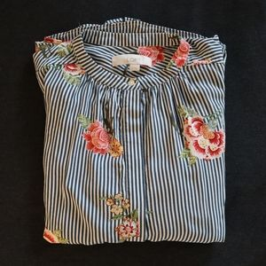 Striped Floral Button Down